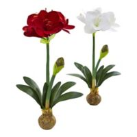 Nearly Natural 25-Inch Amaryllis Flower Set (Set of 2)
