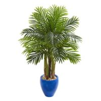 Nearly Natural 4.5-Foot Paradise Palm Tree in Blue Urn