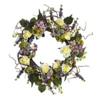 Nearly Natural 24-Inch Hydrangea and Rose Artificial Wreath
