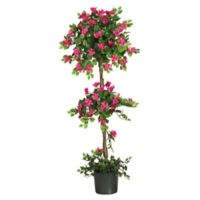 Nearly Natural 5-Foot Artificial Bougainvillea Topiary Tree with Green Pot