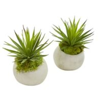 Nearly Natural 7-Inch Artificial Spiky Agave Plants in White Planter (Set of 2)
