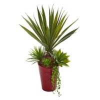 Nearly Natural 20-Inch Artificial Spiky Agave and Succulent Plant in Red Planter