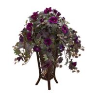 Nearly Natural 34-Inch Gloxinia Plant in Purple with Planter