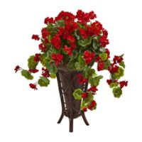 Nearly Natural 34-Inch Gloxinia Plant in Red with Planter