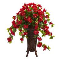 Nearly Natural™ 33-Inch Red Bougainvillea Plant in Wood Lattice Plant Stand