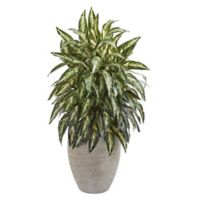 Nearly Natural 33-Inch Aglomnema Artificial Plant in Sand Colored Planter