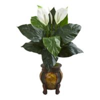 Nearly Natural 32-Inch Spathifyllum Artificial Plant In Decorative Planter