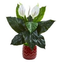 Nearly Natural 27-Inch Spathifyllum Artificial Plant In Red Planter