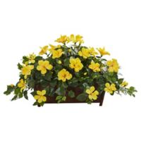 Nearly Natural 20-Inch Hibiscus Plant in Decorative Planter