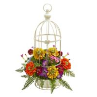 Nearly Natural Mixed Flower Artificial Arrangement in Birdcage