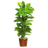 Nearly Natural 5.25-Foot Large Leaf Philodendron Plant in Round Bamboo Planter