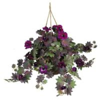 Nearly Natutral 24-Inch Artificial Morning Glory Plant in Purple in Hanging Basket