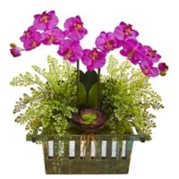 Nearly Natural 23-Inch Artificial Purple Orchid, Succulent and Maiden Hair in Planter