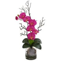 Nearly Natural 24-Inch Artificial Dark Pink Phalaenopsis Orchid in Vase
