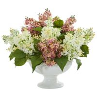 Nearly Natural 14-Inch Artificial White/Pink Lilac Arrangement in Vase