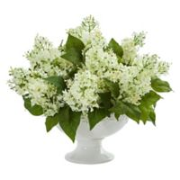 Nearly Natural 14-Inch Artificial White Lilac Arrangement in Vase