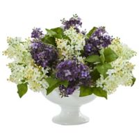 Nearly Natural 14-Inch Artificial Purple/White Lilac Arrangement in Vase
