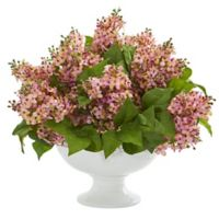 Nearly Natural 14-Inch Pink Artificial Lilac Arrangement in Vase