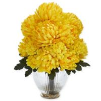 Nearly Natural 15-Inch Artificial Yellow Mum Arrangement in Vase