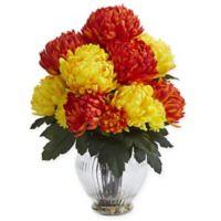 Nearly Natural 15-Inch Artificial Orange/Yellow Mum Arrangement in Vase