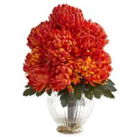 Nearly Natural 15-Inch Artificial Orange Mum Arrangement in Vase