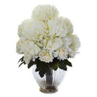 Nearly Natural 15-Inch Artificial Cream Mum Arrangement in Vase