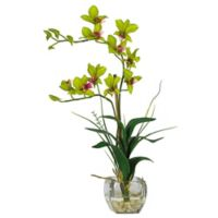Nearly Natural 22-Inch Dendrobium Artificial Arrangement in Green with Glass Vase