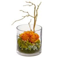 Nearly Natural 11-Inch Artificial Orange/Yellow Roses & Hydrangea Arrangement