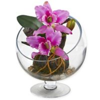 Nearly Natural 11-Inch Artificial Mini Purple Cattleya Orchid in Vase