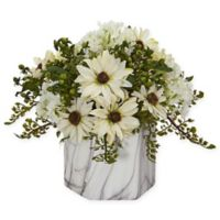 Nearly Natural 10-Inch Artificial Cream Rose Arrangement in Vase