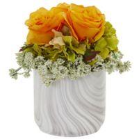 Nearly Natural 8-Inch Artificial Orange/Yellow Rose & Hydrangea Arrangement in Vase
