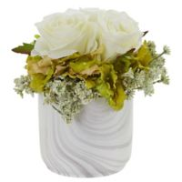 Nearly Natural 8-Inch Artificial White Rose & Hydrangea Arrangement in Vase