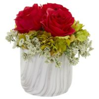 Nearly Natural 8-Inch Artificial Red Rose & Hydrangea Arrangement in Vase