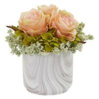 Nearly Natural 8-Inch Artificial Peach Rose & Hydrangea Arrangement in Vase