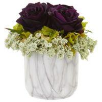 Nearly Natural 8-Inch Artificial Purple Rose & Hydrangea Arrangement in Vase