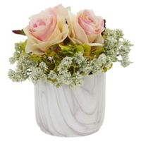 Nearly Natural 8-Inch Artificial Light Pink Rose & Hydrangea Arrangement in Vase