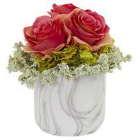 Nearly Natural 8-Inch Artificial Dark Pink Rose & Hydrangea Arrangement in Vase