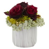 Nearly Natural 8-Inch Artificial Pink Rose & Hydrangea Arrangement in Vase