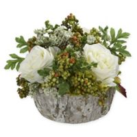 Nearly Natural Artificial White Rose Arrangement in Vase