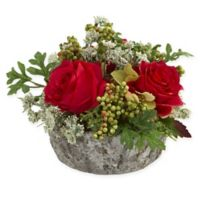 Nearly Natural Artificial Red Rose Arrangement in Vase