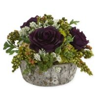 Nearly Natural Artificial Purple Rose Arrangement in Vase