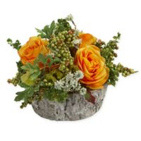 Nearly Natural Artificial Orange/Yellow Rose Arrangement in Vase