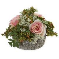 Nearly Natural Artificial Light Pink Rose Arrangement in Vase