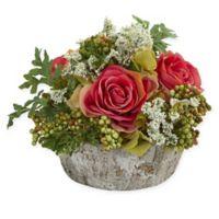 Nearly Natural Artificial Dark Pink Rose Arrangement in Vase
