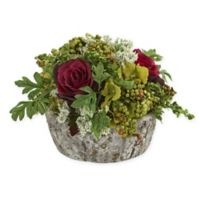 Nearly Natural Artificial Burgundy Rose Arrangement in Vase