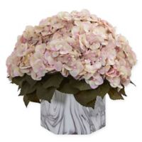 Nearly Natural 14-Inch Artificial Fall Cream/Pink Hydrangea Arrangement in Vase