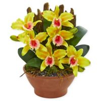 Nearly Natural 15-Inch Artificial Yellow Cattleya Orchid in Vase