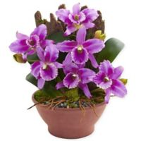 Nearly Natural 15-Inch Artificial Purple Cattleya Orchid in Vase
