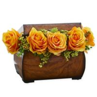 Nearly Natural 8-Inch Rose Artificial Arrangement in Yellow with Decorative Chest