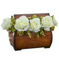 Nearly Natural 8-Inch Rose Artificial Arrangement in White with Decorative Chest